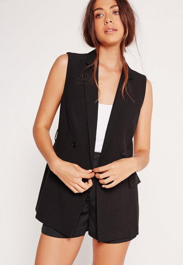 Sleeveless Double Breasted Tie Belt Jacket Black
