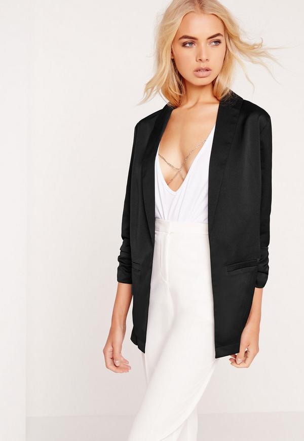 Gathered Sleeve Blazer Black