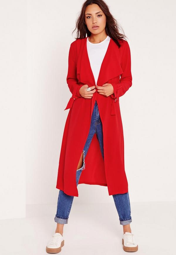 Crepe D-Ring Belted Duster Coat Red