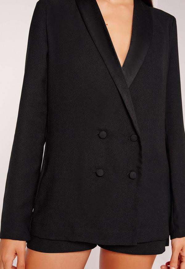 Crepe Double Button Blazer Black