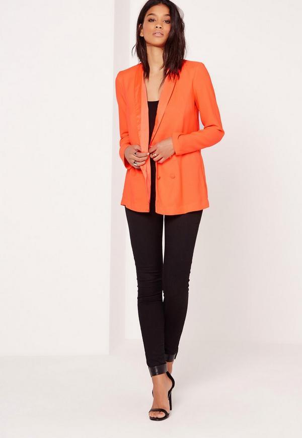 Crepe Double Button Blazer Orange