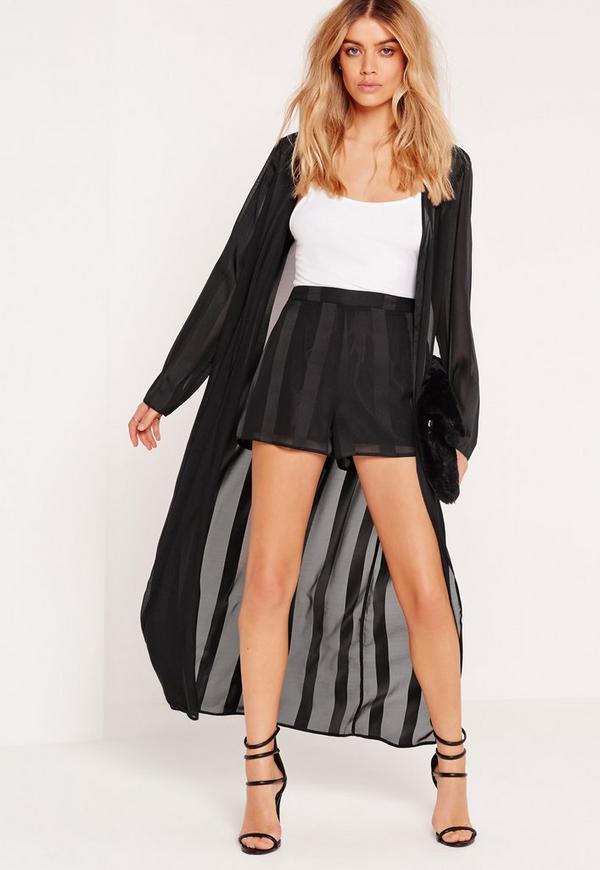 Stripe Duster Coat Black