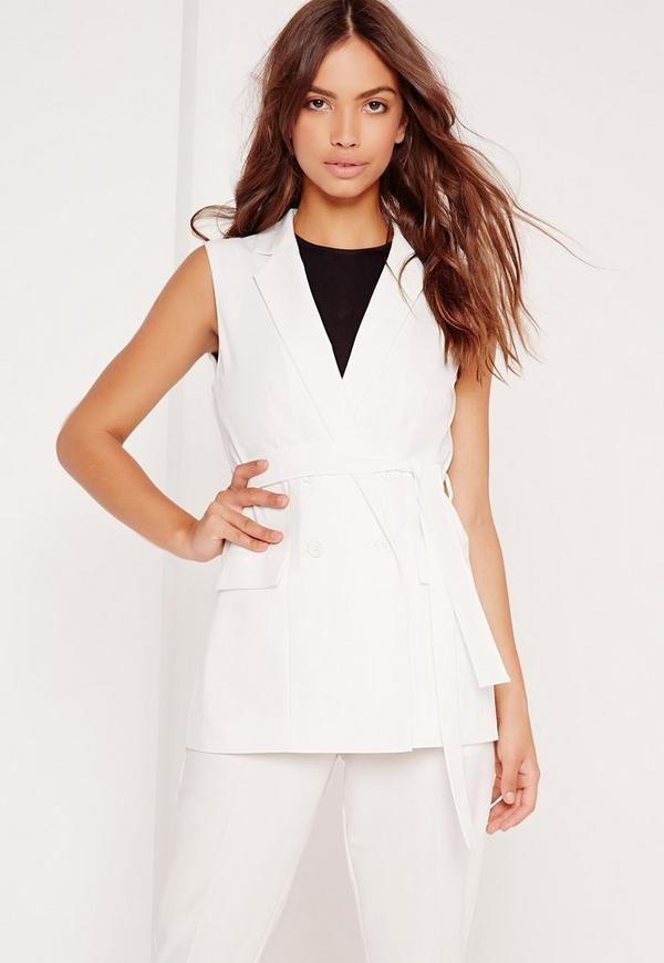 Sleeveless Double Breasted Tie Belt Jacket White