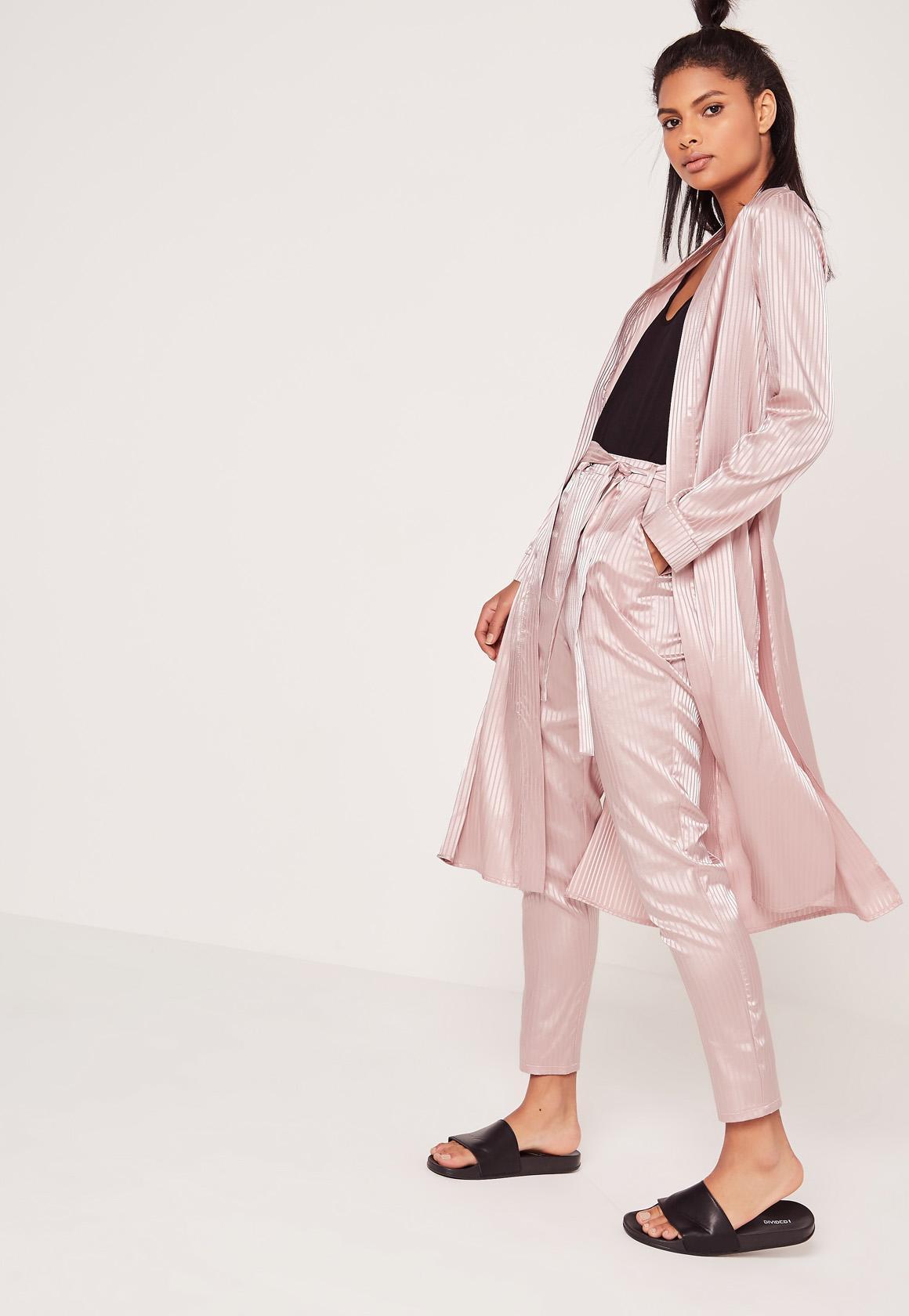 Premium Silk Stripe Duster Jacket Pink | Missguided