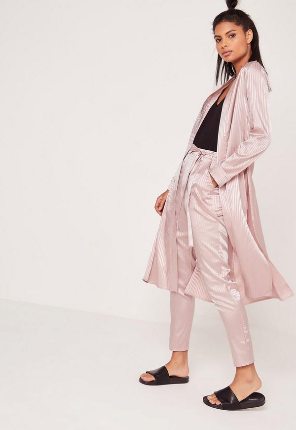 Premium Silk Stripe Duster Jacket Pink