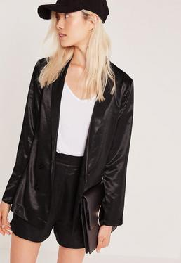 Premium Satin Double Breasted Blazer Black