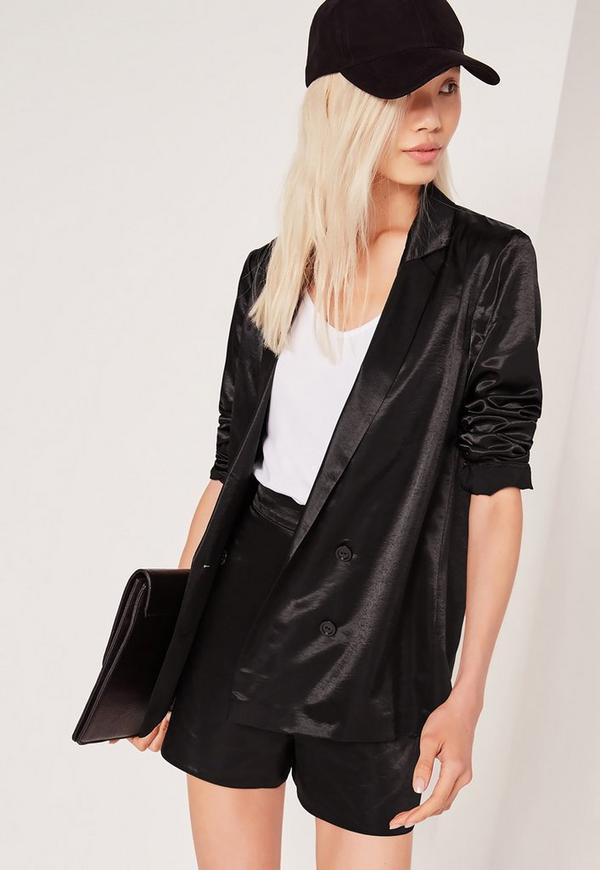Premium Satin Double Breasted Blazer Black Missguided