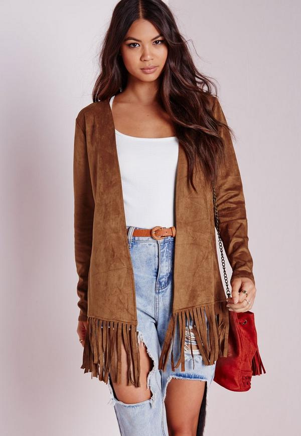 Faux Suede Jacket with Fringe Hem Tan