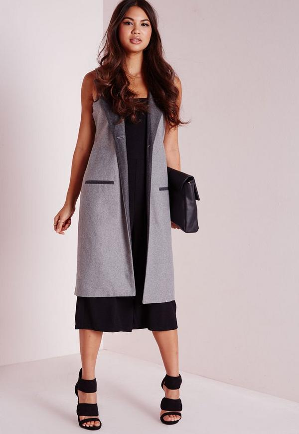 Contrast Lapel Wool Sleeveless Jacket Grey