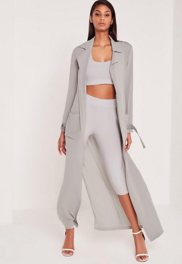Carli Bybel Maxi Duster Coat Grey Missguided