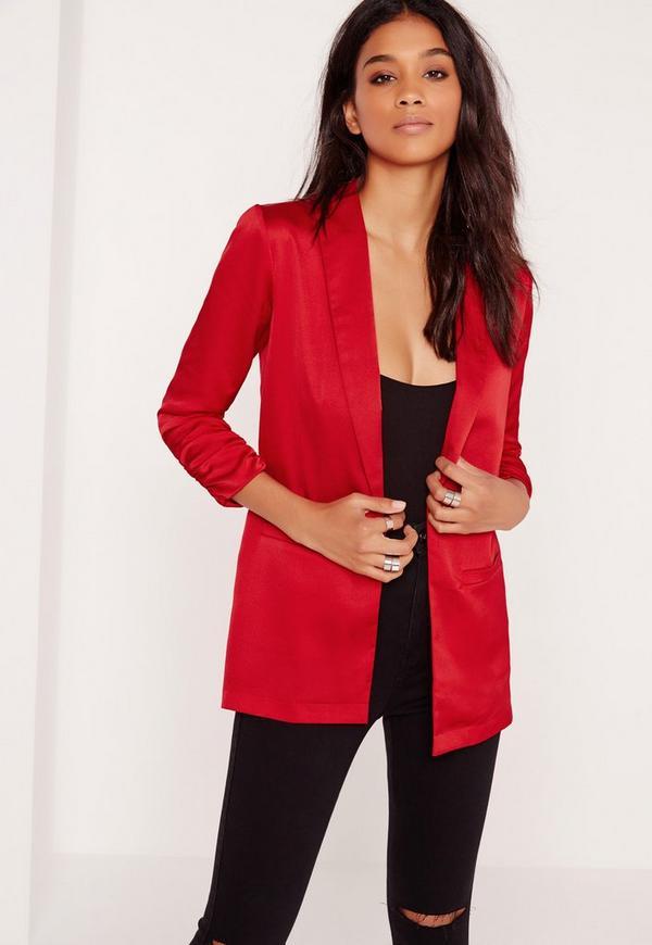 Gathered Sleeve Blazer Red