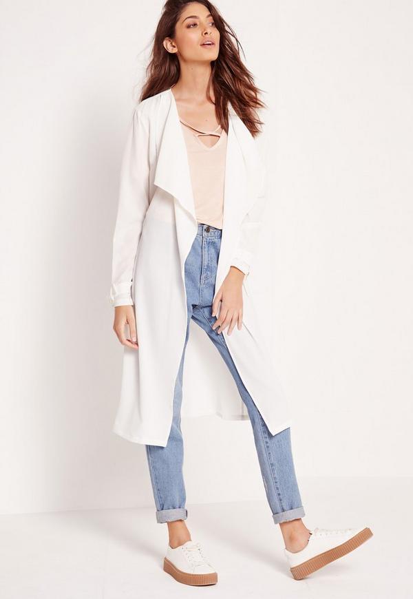 Crepe D Ring Waist Duster Coat White
