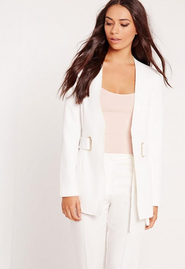 Oval D Ring Structured Blazer White