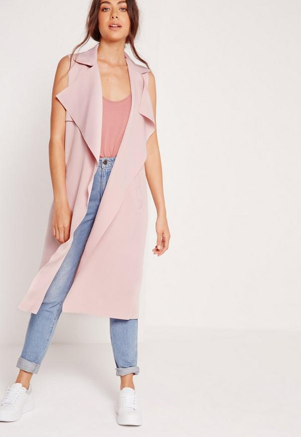 Crepe Sleeveless Waterfall Jacket Pink