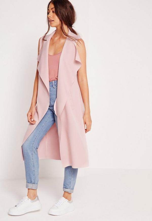 Crepe Sleeveless Waterfall Jacket Pink | Missguided