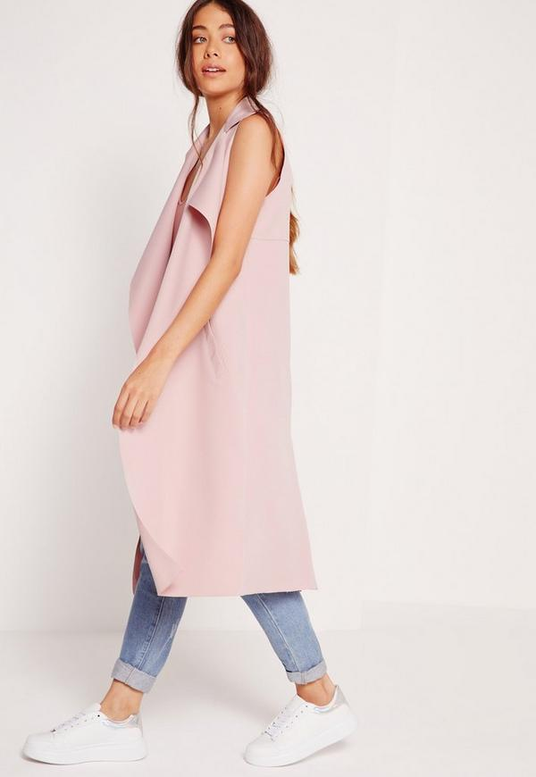 Crepe Sleeveless Waterfall Jacket Pink