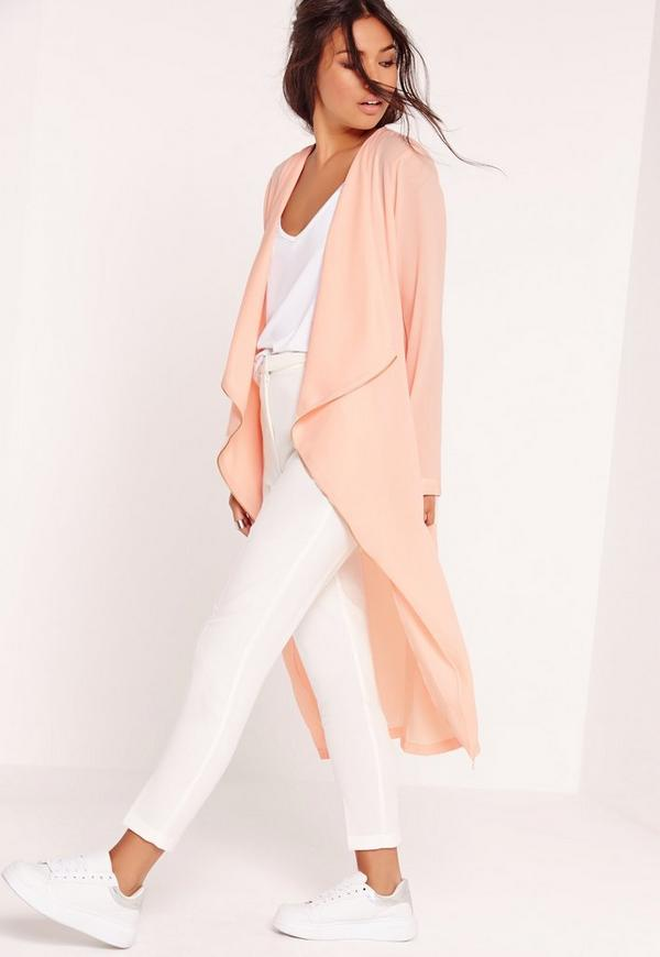 Zip Detail Chiffon Waterfall Duster Coat Pink