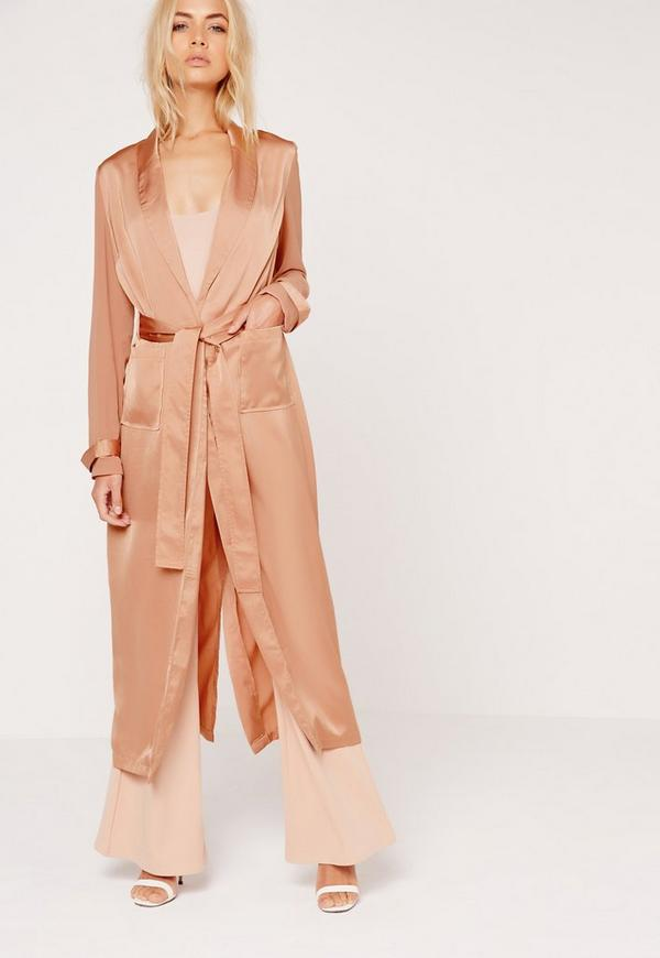 Satin and Chiffon Mixed Belted Duster Coat Bronze