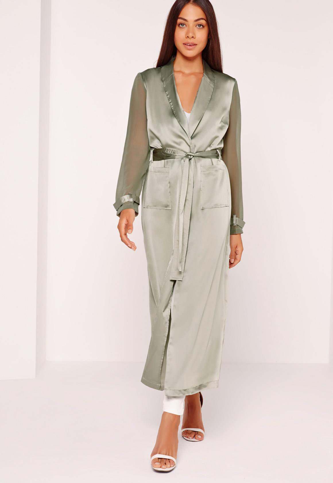 Two Tone Satin Chiffon Belted Duster Coat Green | Missguided