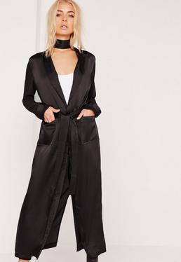 Satin Belted Duster Coat Black