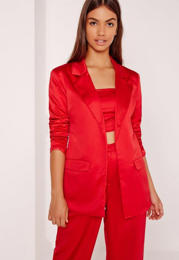 Satin Blazer Red