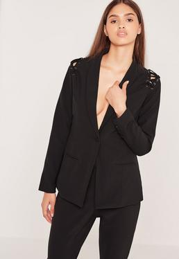 Eyelet Lace Up Shoulder Blazer Black