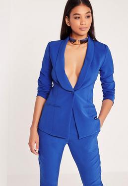 Curved Lapel Blazer Cobalt Blue