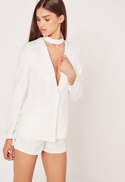 Choker Neck Blazer White