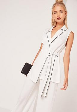 Contrast Piped Sleeveless Long Waistcoat White