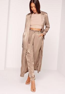 Buckle Duster Coat Brown