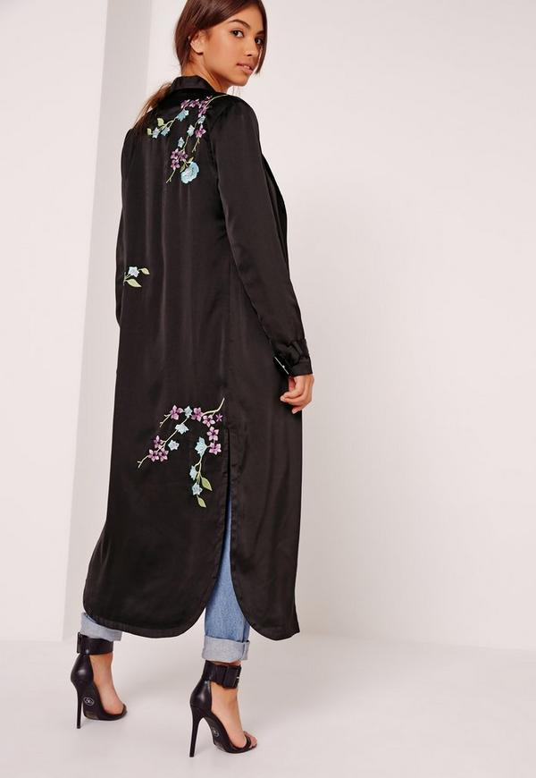 Oriental Embroidered Duster Jacket Black