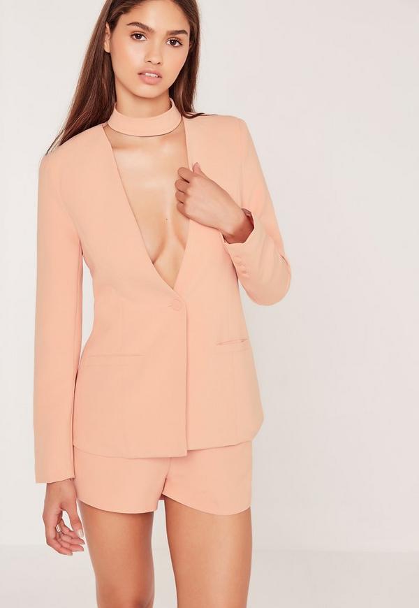 Choker Neck Blazer Pink