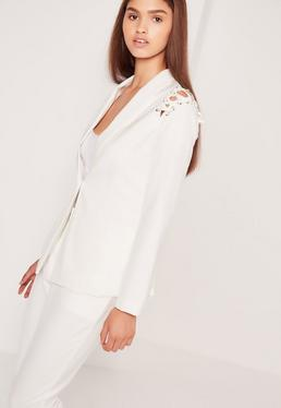 Lace Up Shoulder Blazer White