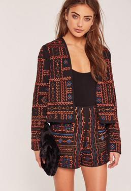 Premium Embroidered Jacket Black