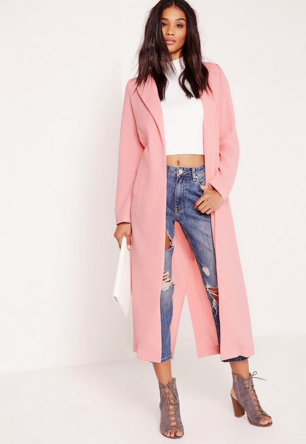 Long Sleeve Maxi Duster Jacket Pink