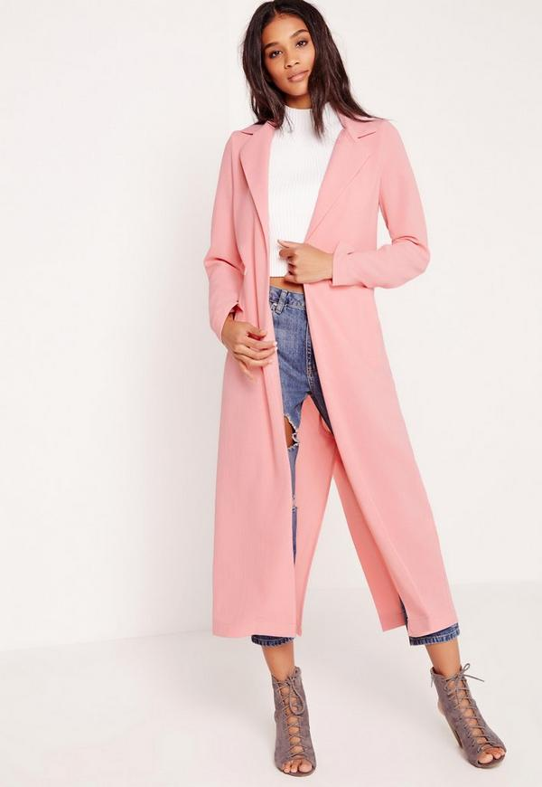 Long Sleeve Maxi Duster Coat Pink - Missguided
