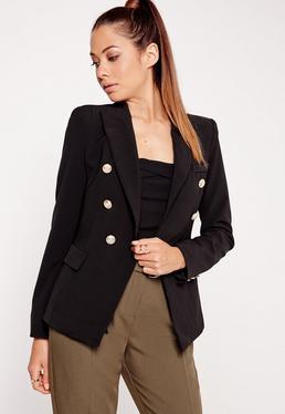 Military Style Blazer Black
