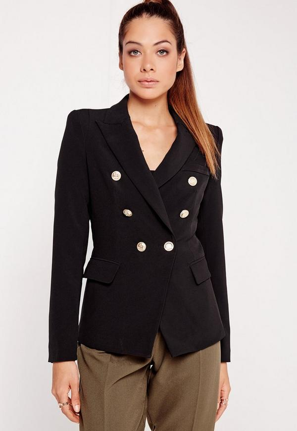 Military Style Blazer Black Missguided
