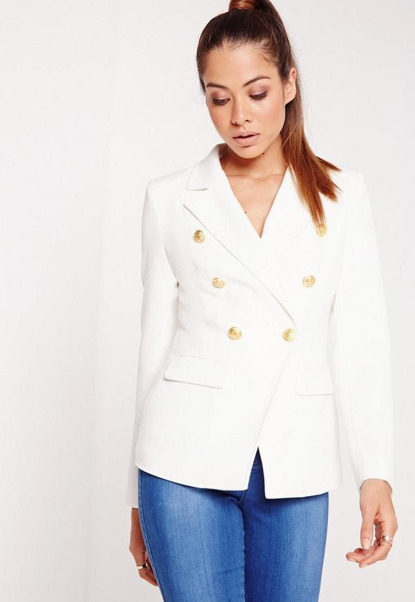 Military Style Blazer White Missguided