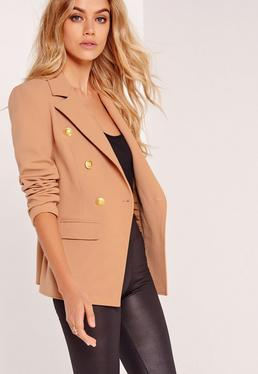 Blazer im Military-Style in Nude