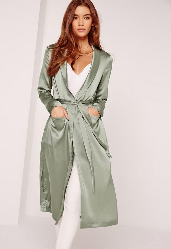 Satin Duster Jacket Khaki