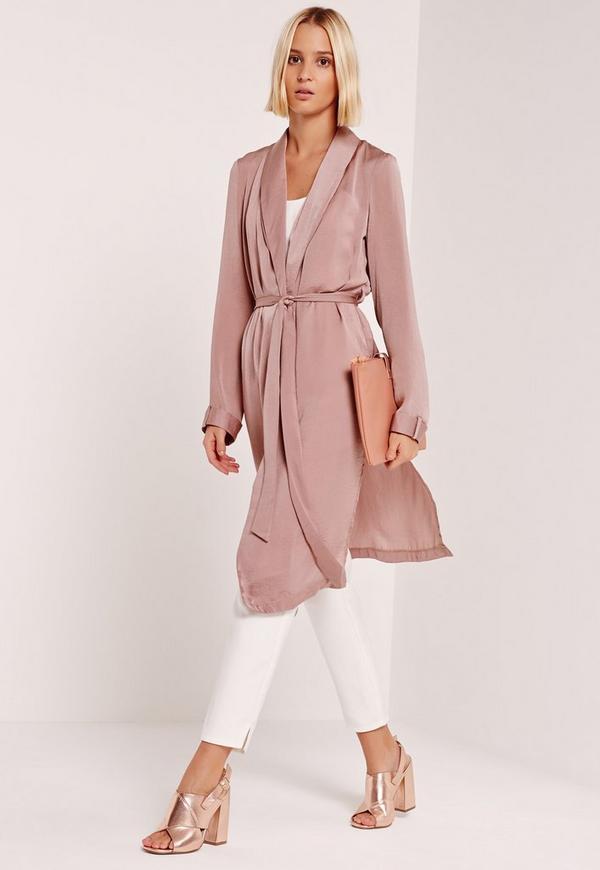 Satin Back Crepe Duster Coat Pink