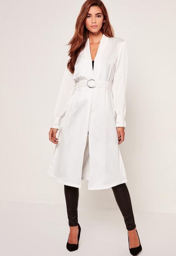White D Ring Tie Duster Jacket