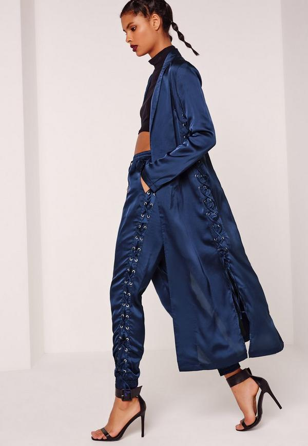 Eyelet Duster Jacket Blue