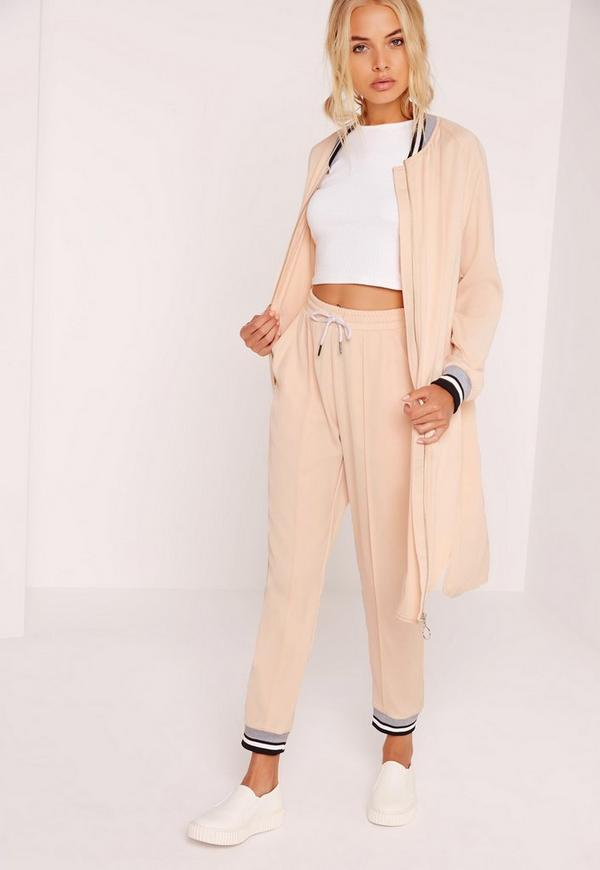 Zip Through Longline Sport Trim Duster Nude