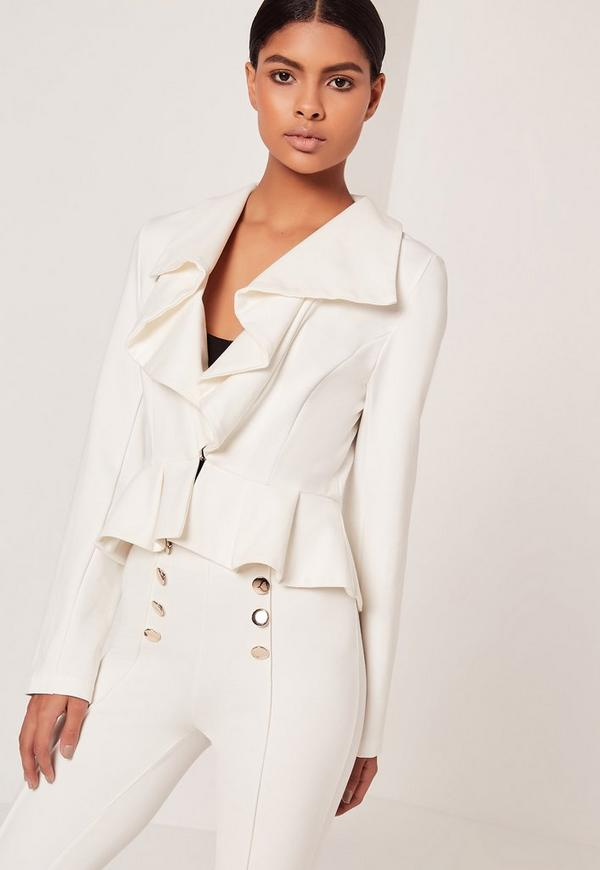 Ruffle Front Button Jacket Cream