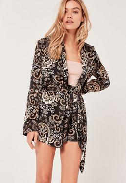 Paisley Print Belted Jacket Multi