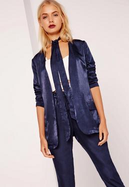 Tie Neck Satin Blazer Navy