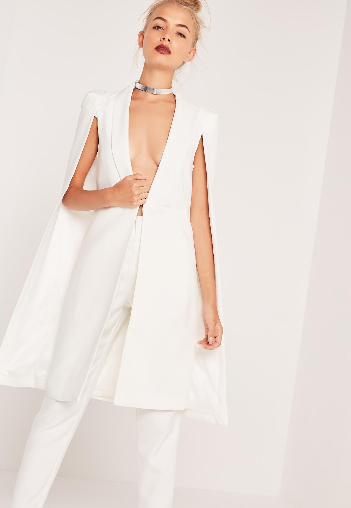 Longline Cape Blazer White | Missguided