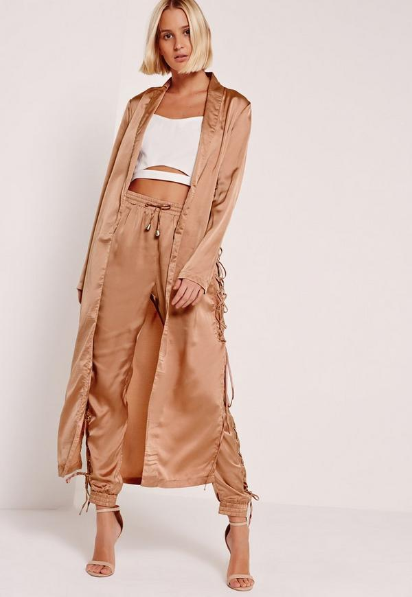 satin eyelet duster jacket nude